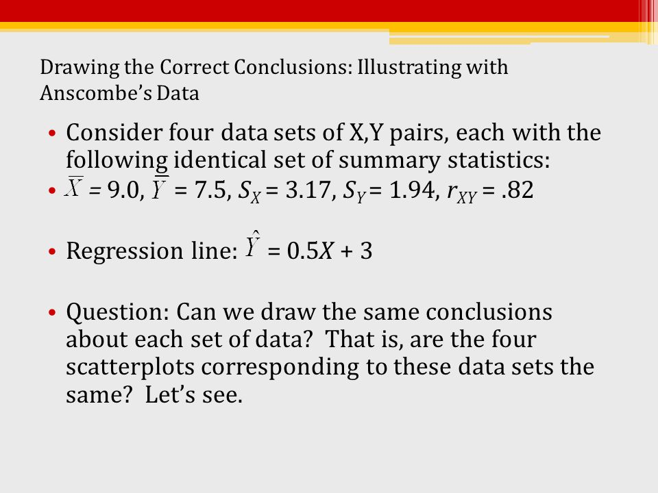 Drawing the Correct Conclusions: Illustrating with Anscombe's Data Consider four data sets of X,Y pairs, each with the following identical set of summ