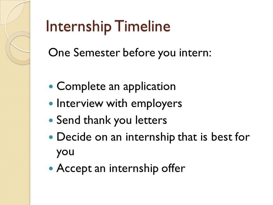 Internship Timeline One Semester before you intern: Complete an application Interview with employers Send thank you letters Decide on an internship that is best for you Accept an internship offer