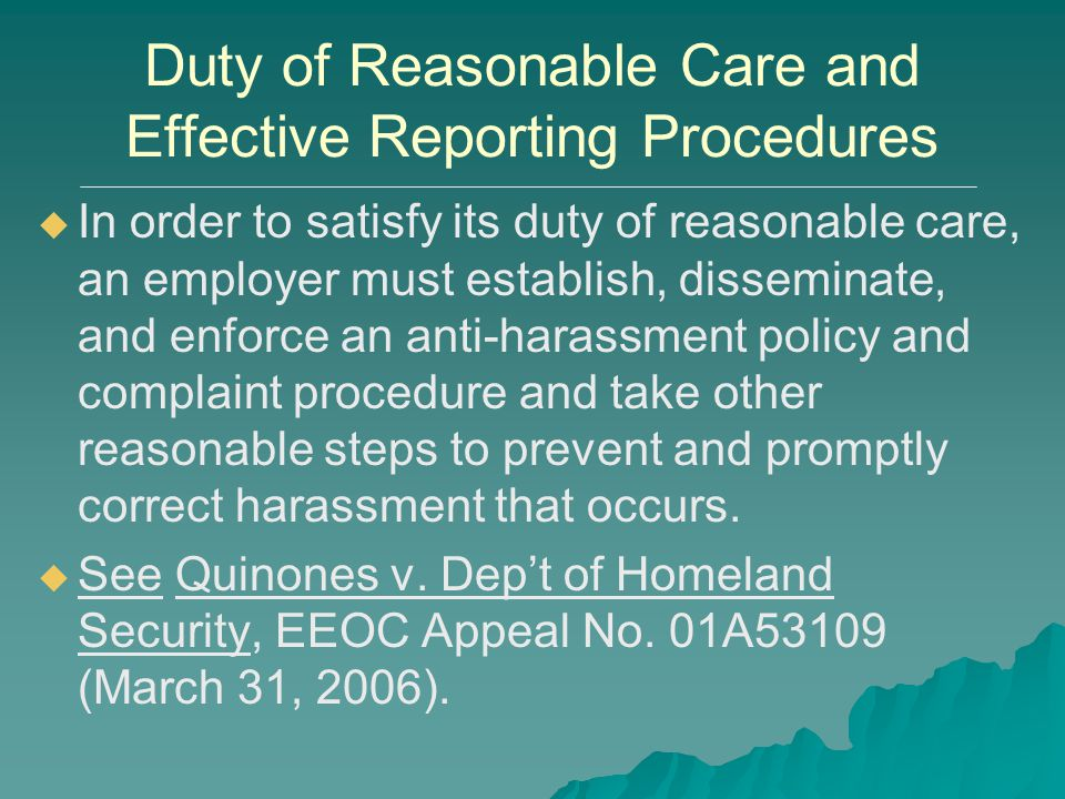 Duty of Reasonable Care and Effective Reporting Procedures   In order to satisfy its duty of reasonable care, an employer must establish, disseminat