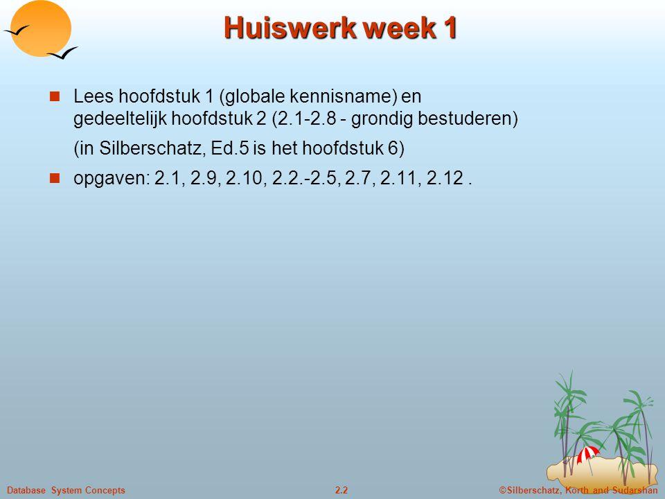 ©Silberschatz, Korth and Sudarshan2.2Database System Concepts Huiswerk week 1 Lees hoofdstuk 1 (globale kennisname) en gedeeltelijk hoofdstuk 2 (2.1-2