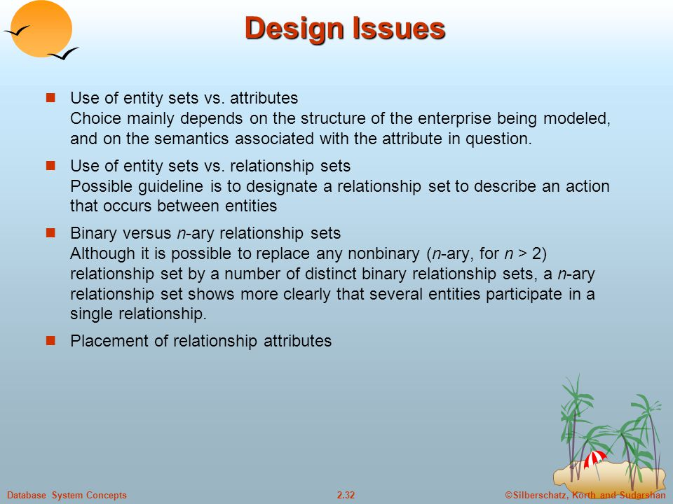 ©Silberschatz, Korth and Sudarshan2.32Database System Concepts Design Issues Use of entity sets vs. attributes Choice mainly depends on the structure