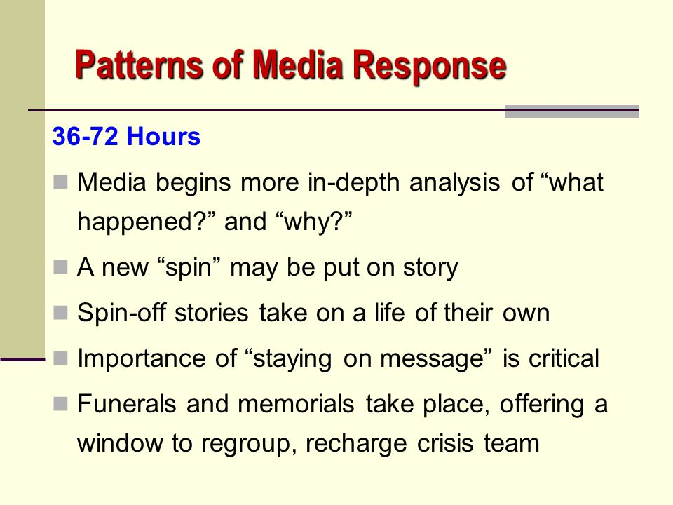 "Patterns of Media Response 24-36 Hours Focus on the question of ""why?"" Natural reaction in the aftermath is to look for blame Many theories on crisis"