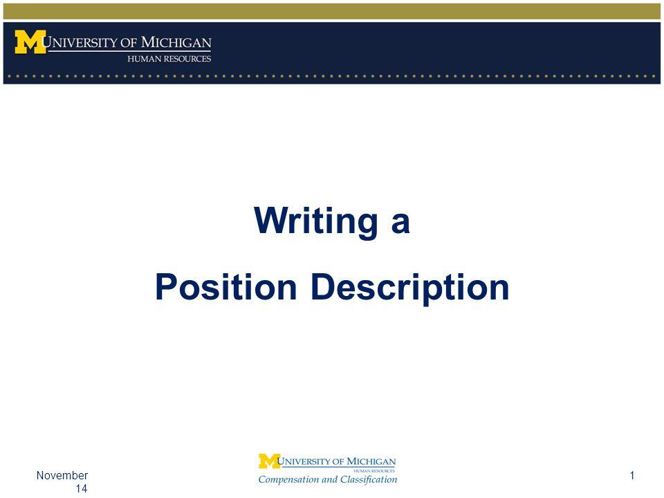 1November 14 Writing a Position Description