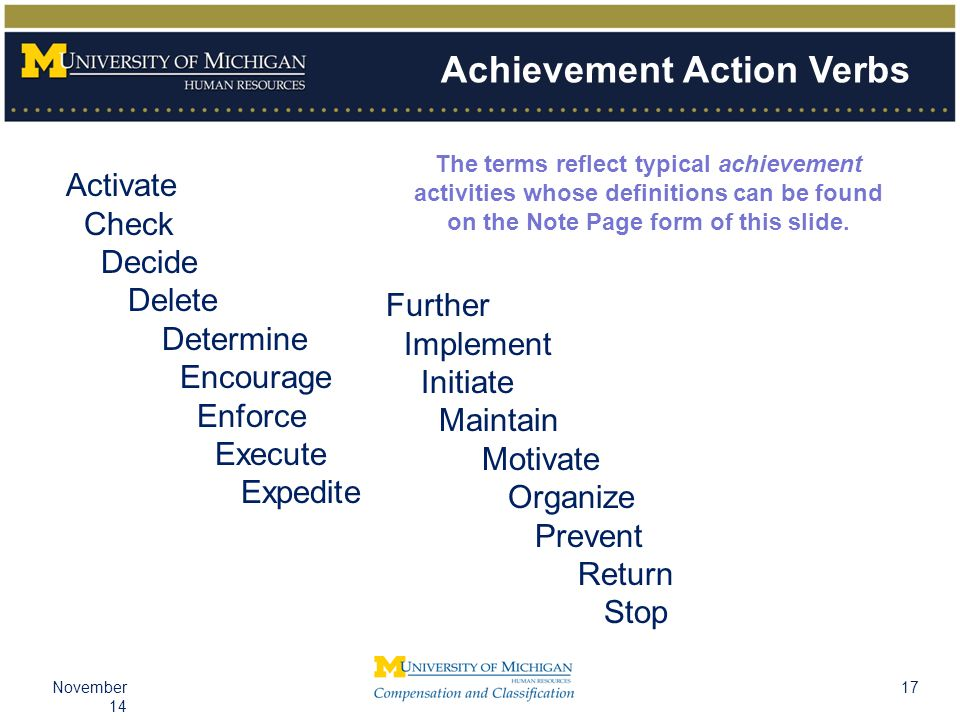17November 14 Achievement Action Verbs Activate Check Decide Delete Determine Encourage Enforce Execute Expedite Further Implement Initiate Maintain Motivate Organize Prevent Return Stop The terms reflect typical achievement activities whose definitions can be found on the Note Page form of this slide.