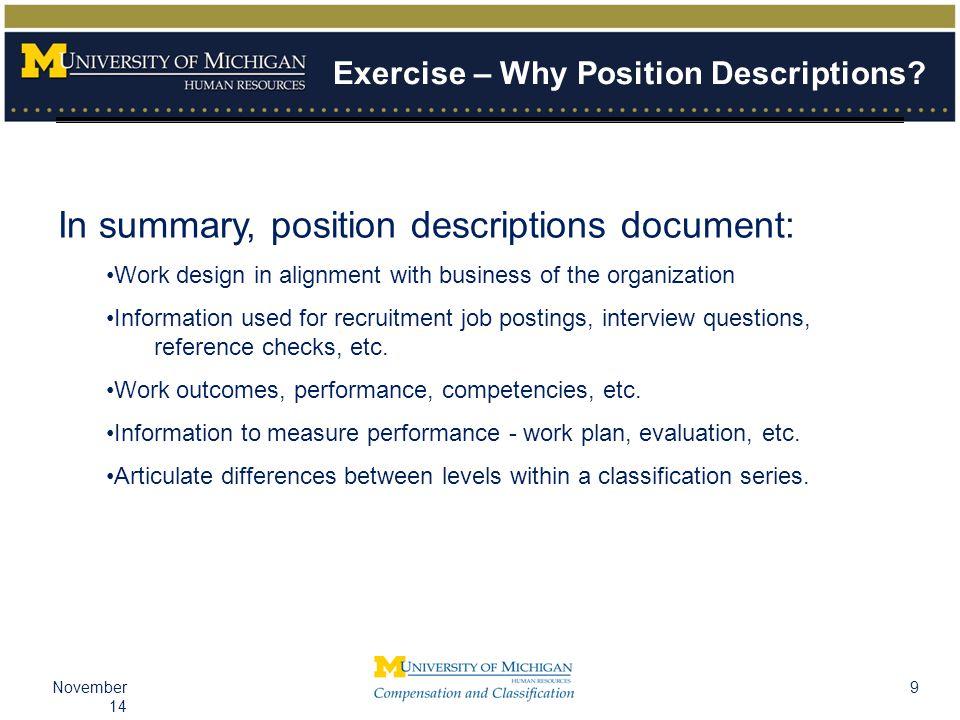 9November 14 Exercise – Why Position Descriptions.