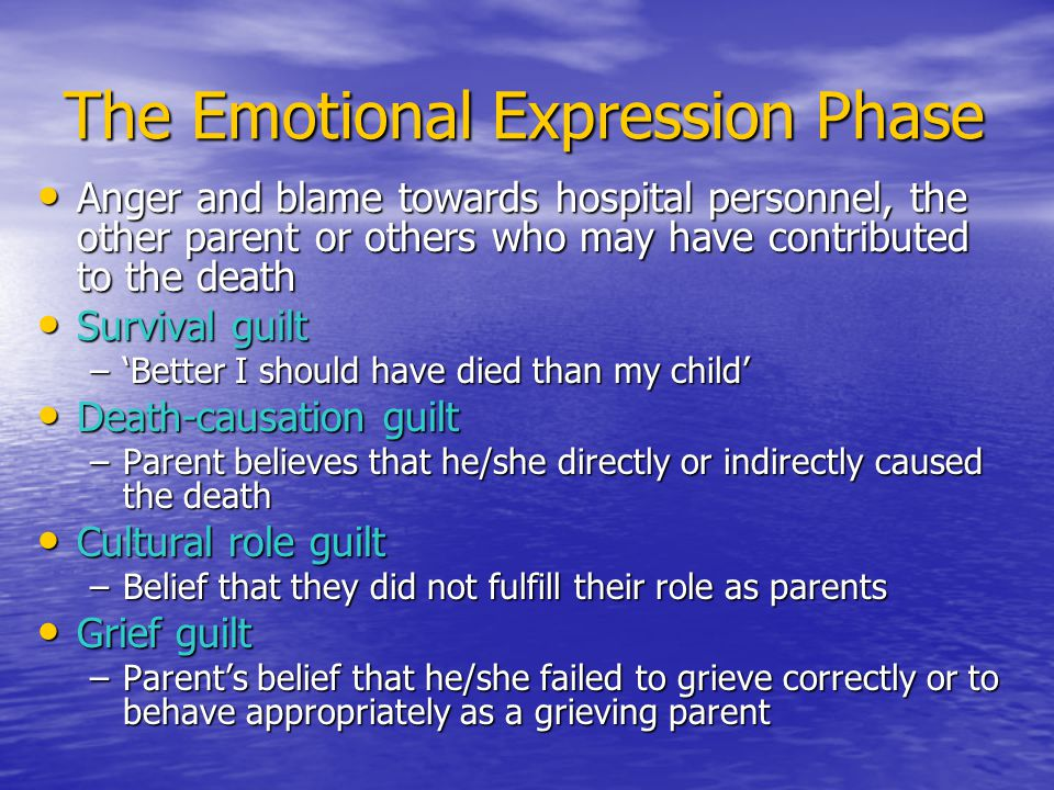 The Emotional Expression Phase Anger and blame towards hospital personnel, the other parent or others who may have contributed to the death Anger and blame towards hospital personnel, the other parent or others who may have contributed to the death Survival guilt Survival guilt –'Better I should have died than my child' Death-causation guilt Death-causation guilt –Parent believes that he/she directly or indirectly caused the death Cultural role guilt Cultural role guilt –Belief that they did not fulfill their role as parents Grief guilt Grief guilt –Parent's belief that he/she failed to grieve correctly or to behave appropriately as a grieving parent