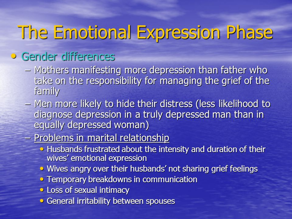 The Emotional Expression Phase Gender differences Gender differences –Mothers manifesting more depression than father who take on the responsibility for managing the grief of the family –Men more likely to hide their distress (less likelihood to diagnose depression in a truly depressed man than in equally depressed woman) –Problems in marital relationship Husbands frustrated about the intensity and duration of their wives' emotional expression Husbands frustrated about the intensity and duration of their wives' emotional expression Wives angry over their husbands' not sharing grief feelings Wives angry over their husbands' not sharing grief feelings Temporary breakdowns in communication Temporary breakdowns in communication Loss of sexual intimacy Loss of sexual intimacy General irritability between spouses General irritability between spouses