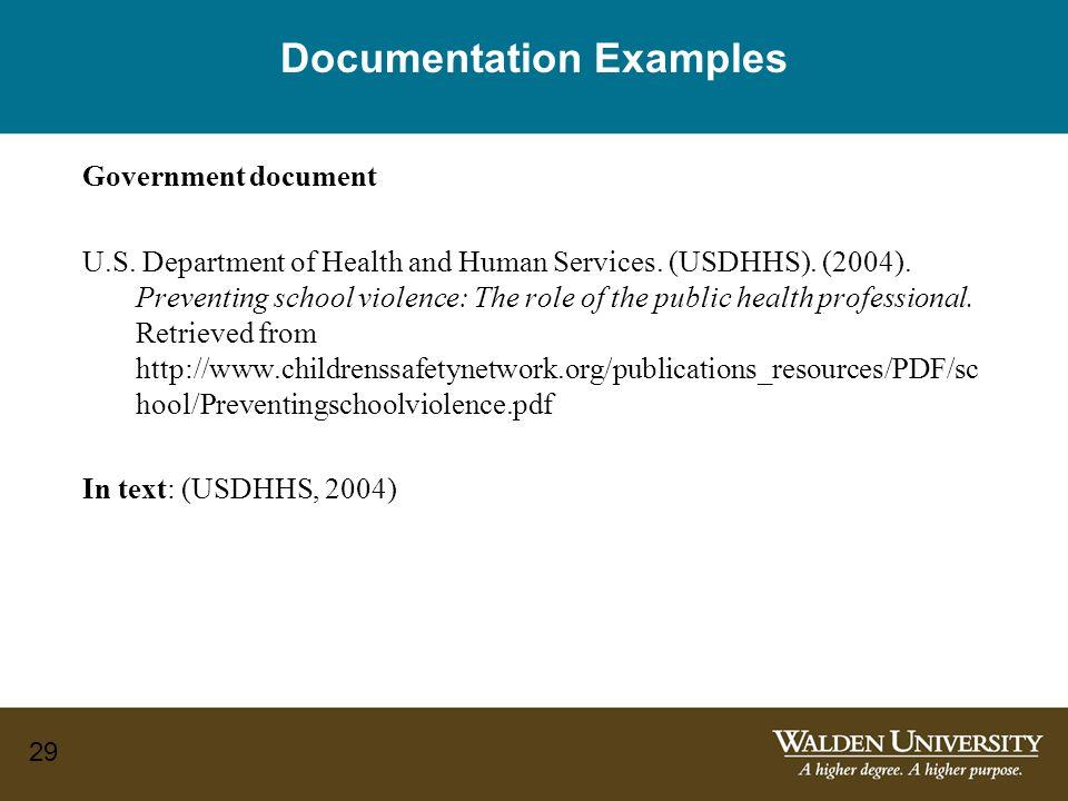 29 Documentation Examples Government document U.S.