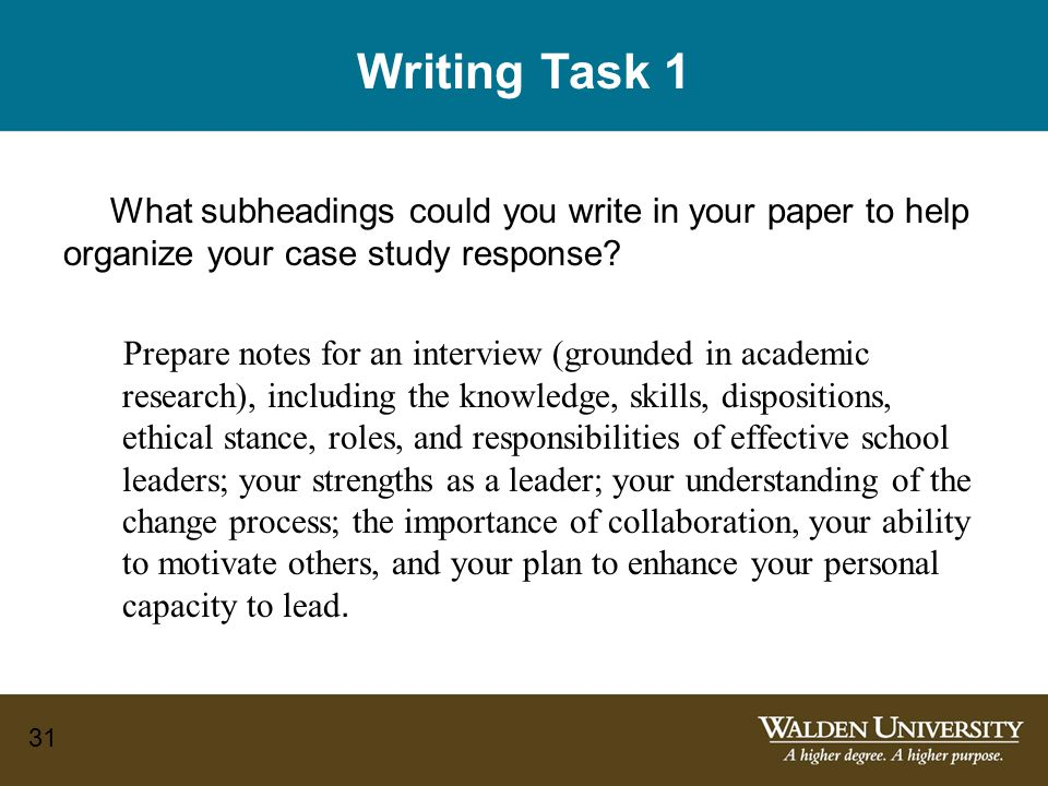 31 Writing Task 1 What subheadings could you write in your paper to help organize your case study response.
