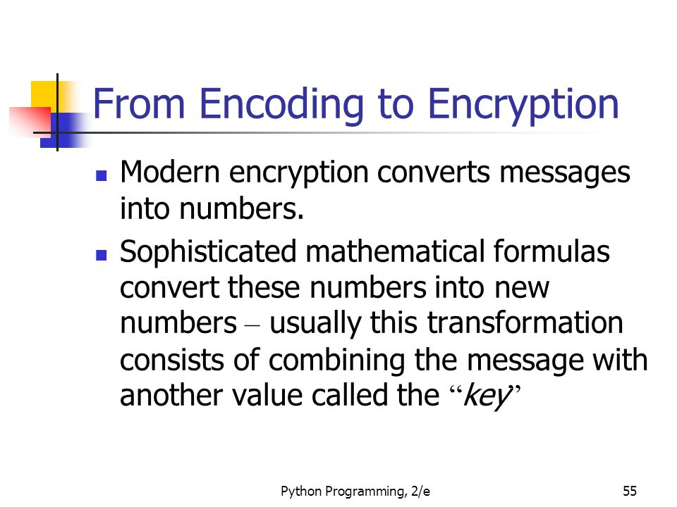 Python Programming, 2/e55 From Encoding to Encryption Modern encryption converts messages into numbers. Sophisticated mathematical formulas convert th