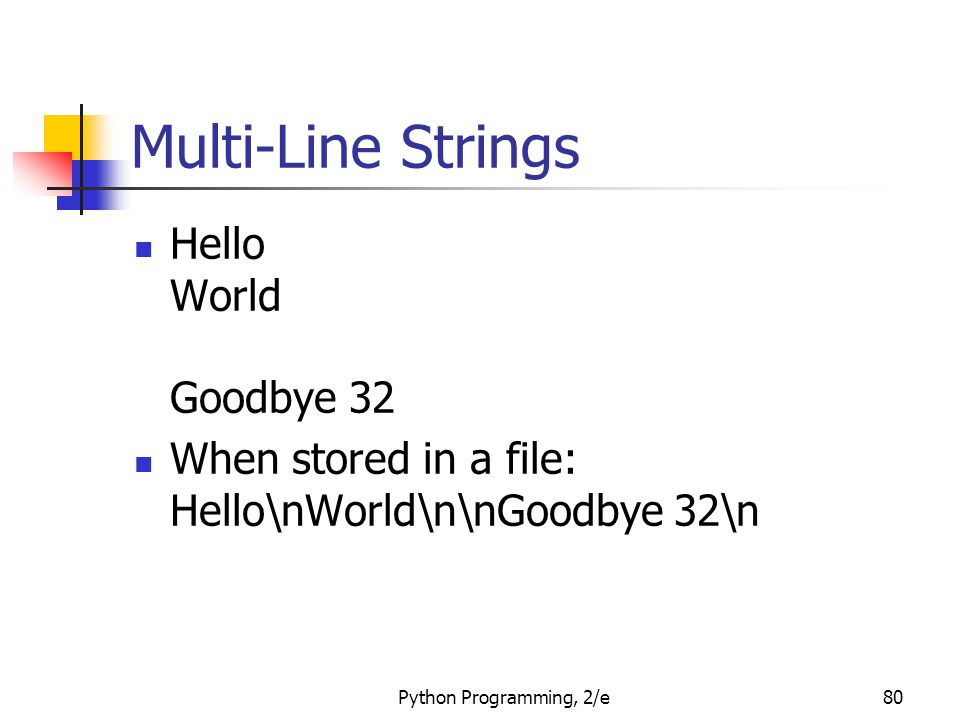 Python Programming, 2/e80 Multi-Line Strings Hello World Goodbye 32 When stored in a file: Hello\nWorld\n\nGoodbye 32\n