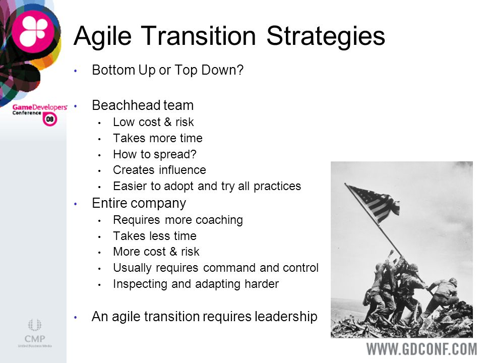 Agile Transition Strategies Bottom Up or Top Down.