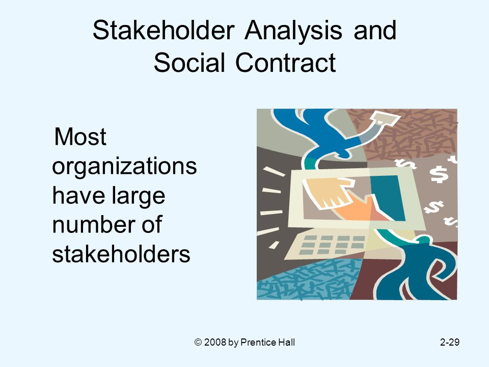© 2008 by Prentice Hall2-29 Stakeholder Analysis and Social Contract Most organizations have large number of stakeholders