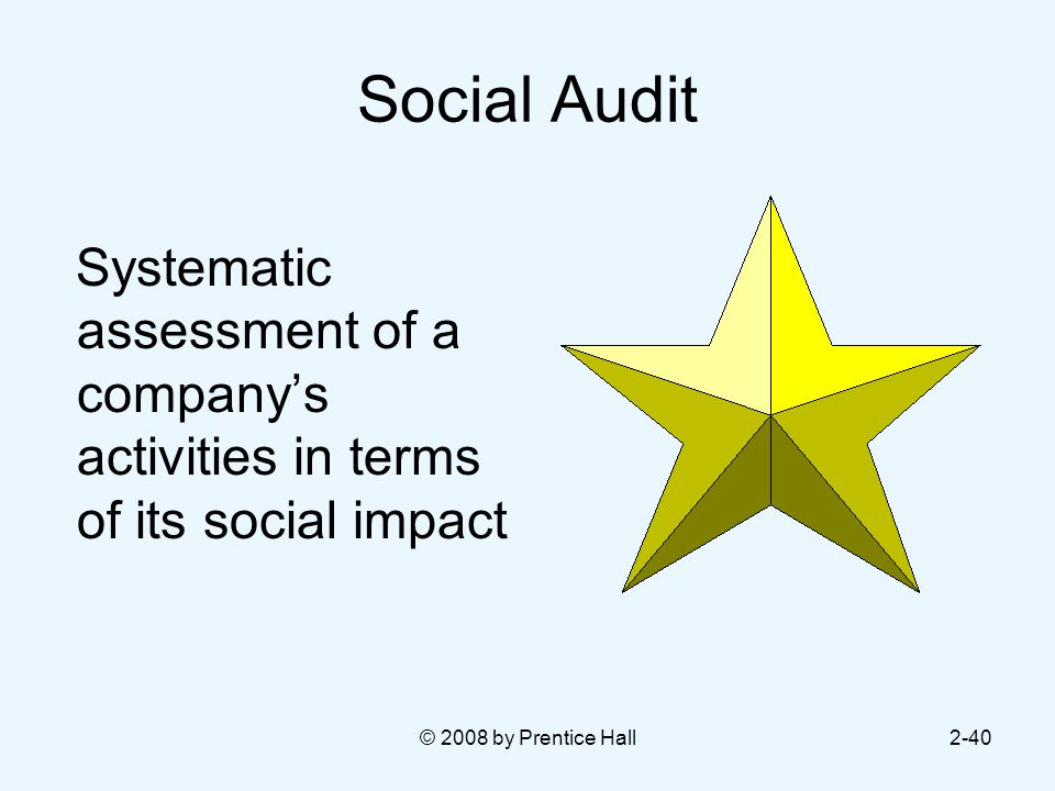 © 2008 by Prentice Hall2-40 Social Audit Systematic assessment of a company's activities in terms of its social impact