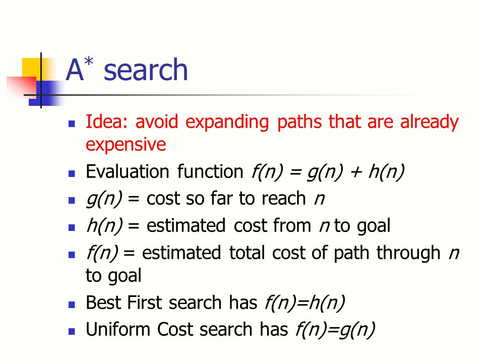 A * search Idea: avoid expanding paths that are already expensive Evaluation function f(n) = g(n) + h(n) g(n) = cost so far to reach n h(n) = estimated cost from n to goal f(n) = estimated total cost of path through n to goal Best First search has f(n)=h(n) Uniform Cost search has f(n)=g(n)