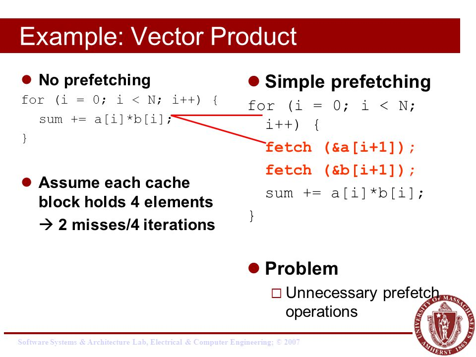 Software Systems & Architecture Lab, Electrical & Computer Engineering; © 2007 Example: Vector Product No prefetching for (i = 0; i < N; i++) { sum += a[i]*b[i]; } Assume each cache block holds 4 elements  2 misses/4 iterations Simple prefetching for (i = 0; i < N; i++) { fetch (&a[i+1]); fetch (&b[i+1]); sum += a[i]*b[i]; } Problem  Unnecessary prefetch operations