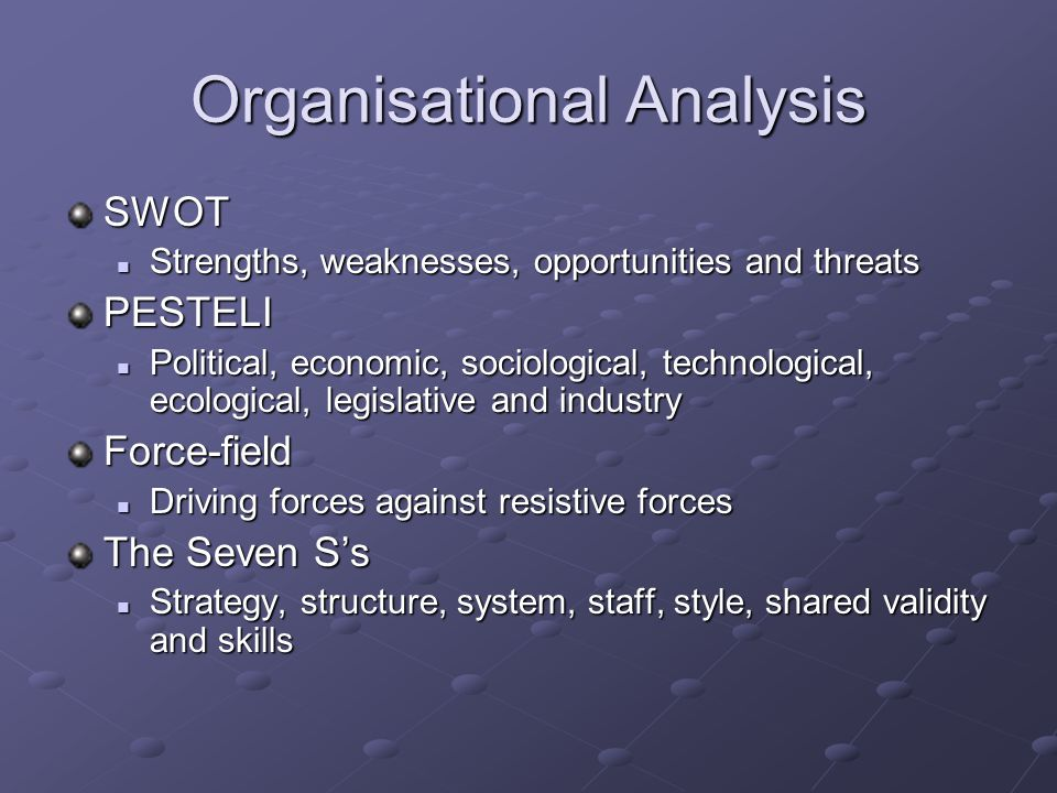 Organisational Analysis SWOT Strengths, weaknesses, opportunities and threats Strengths, weaknesses, opportunities and threatsPESTELI Political, econo