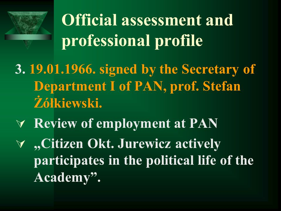 Official assessment and professional profile 3. 19.01.1966.