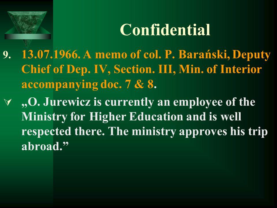 Confidential 9.13.07.1966. A memo of col. P. Barański, Deputy Chief of Dep.