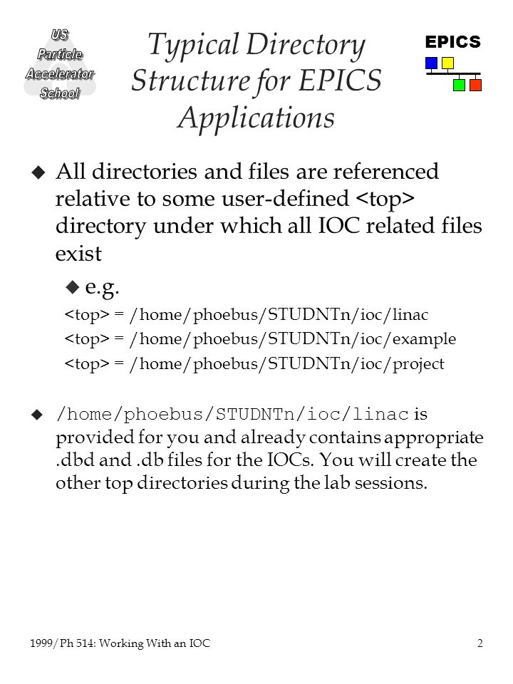 2 1999/Ph 514: Working With an IOC EPICS Typical Directory Structure for EPICS Applications u All directories and files are referenced relative to some user-defined directory under which all IOC related files exist u e.g.