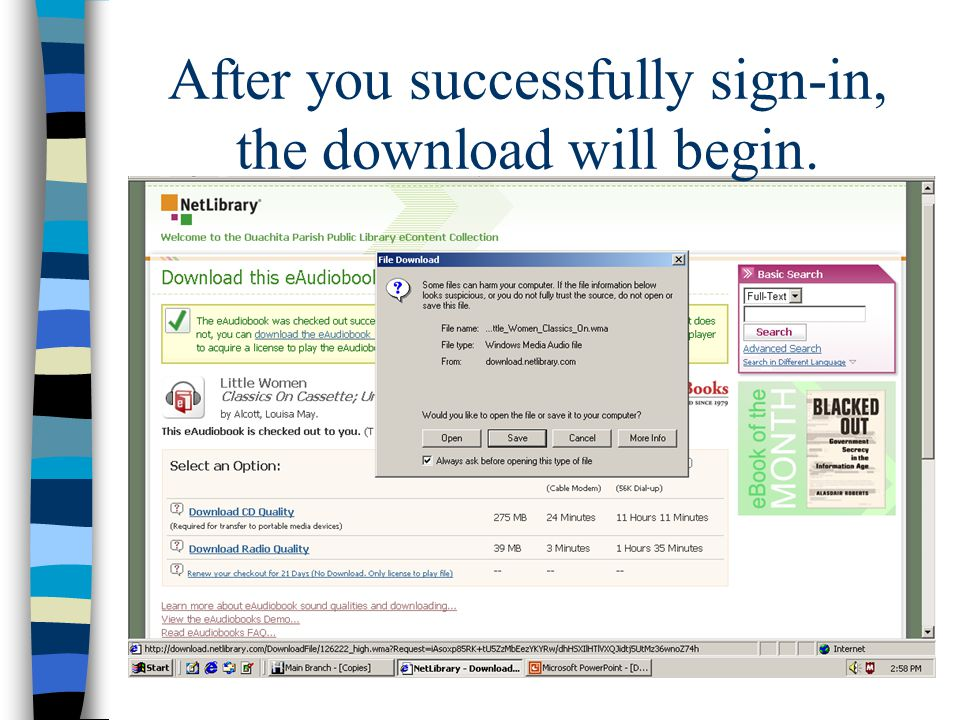 After you successfully sign-in, the download will begin.