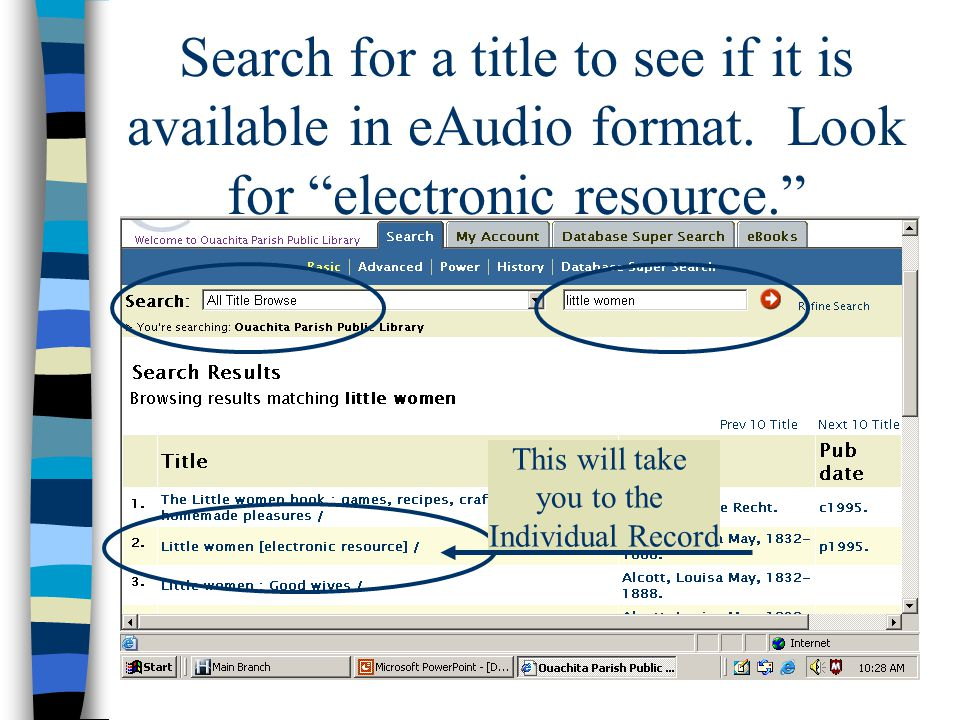 After you have found the title you wish to download, click on the title that will take you to the individual book's record.