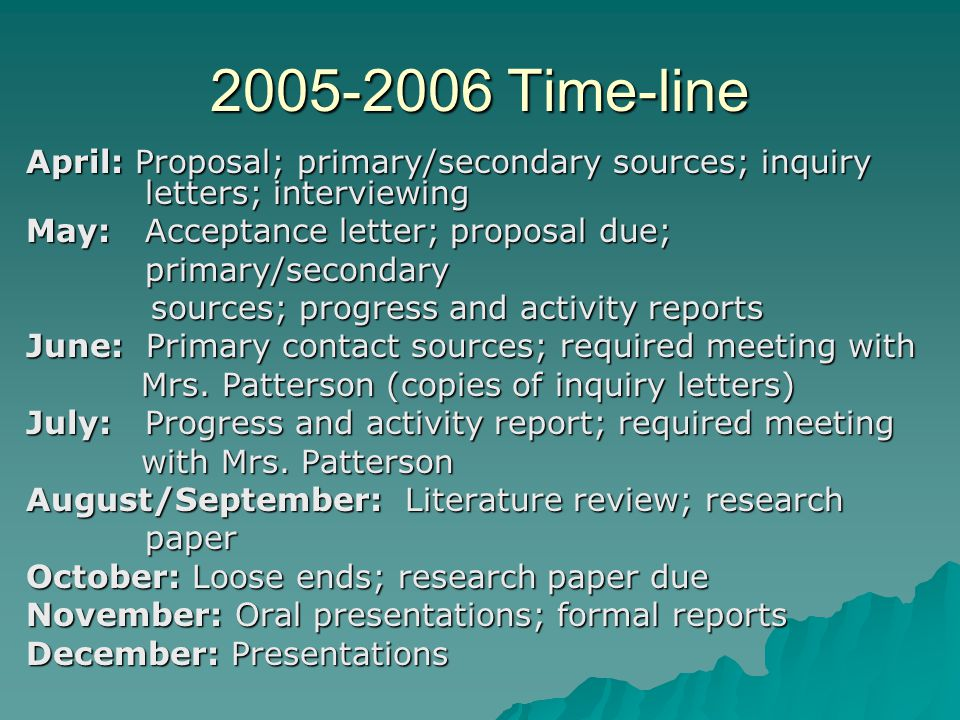 2005-2006 Time-line April: Proposal; primary/secondary sources; inquiry letters; interviewing May: Acceptance letter; proposal due; primary/secondary