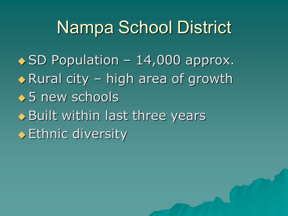 Presentation  At Nampa High  During school hours (12:30)  30 minute time slots  Evaluators