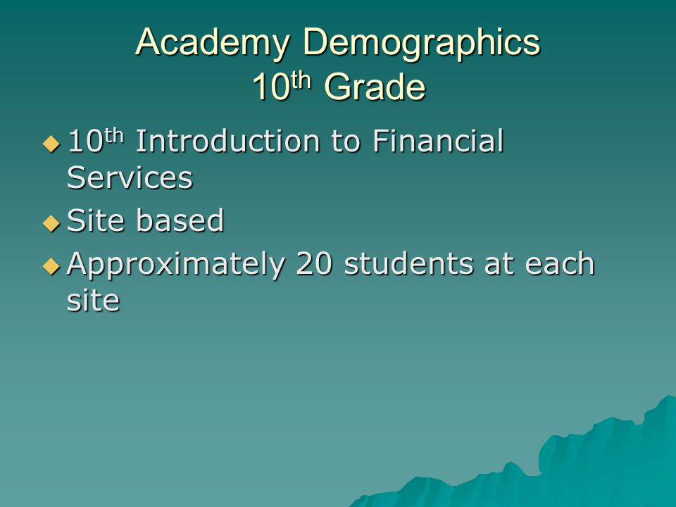 Academy Demographics 11 th Grade  Full time enrolled  History, business, English courses  Internship preparation  20 students