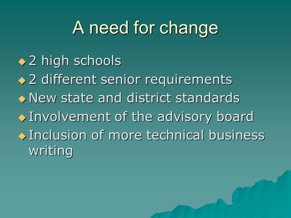 A need for change  2 high schools  2 different senior requirements  New state and district standards  Involvement of the advisory board  Inclusio
