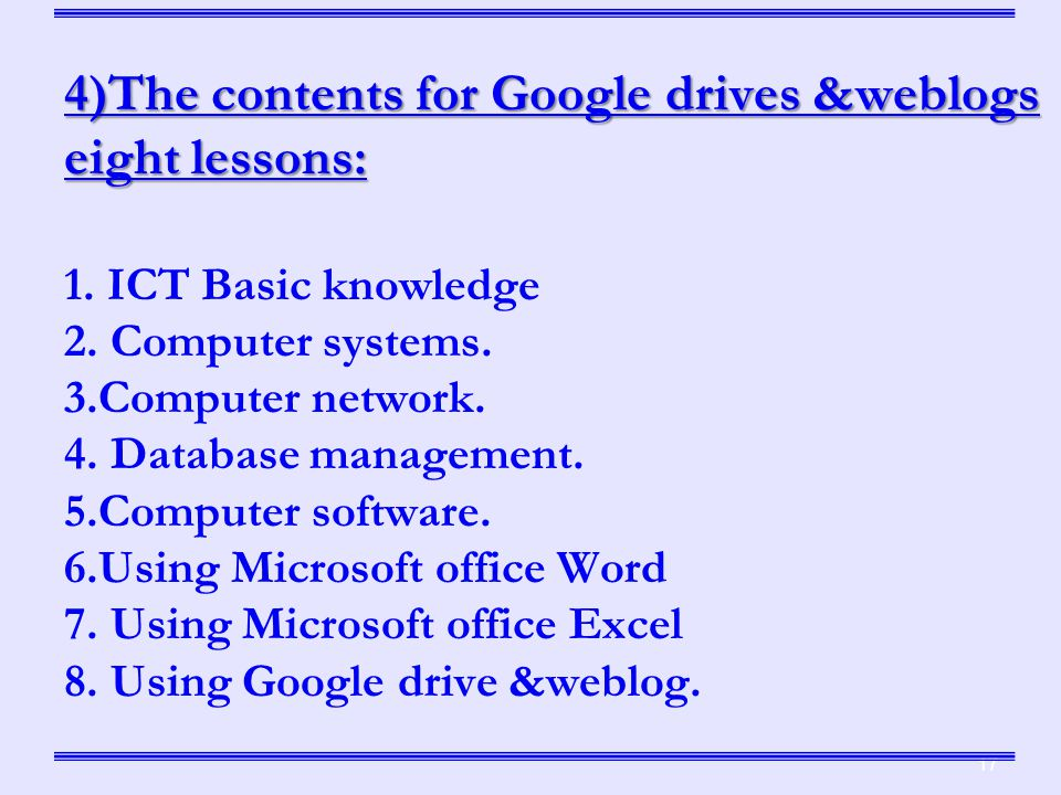 4)The contents for Google drives &weblogs eight lessons: 1.
