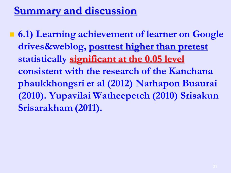 Summary and discussion 31 posttest higher than pretest significant at the 0.05 level 6.1) Learning achievement of learner on Google drives&weblog, posttest higher than pretest statistically significant at the 0.05 level consistent with the research of the Kanchana phaukkhongsri et al (2012) Nathapon Buaurai (2010).