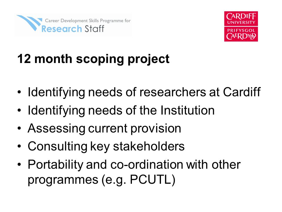 12 month scoping project Identifying needs of researchers at Cardiff Identifying needs of the Institution Assessing current provision Consulting key stakeholders Portability and co-ordination with other programmes (e.g.
