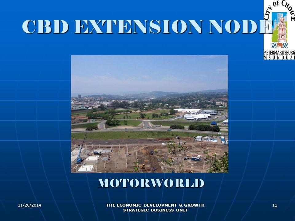 11/26/2014 THE ECONOMIC DEVELOPMENT & GROWTH STRATEGIC BUSINESS UNIT 11 MOTORWORLD CBD EXTENSION NODE