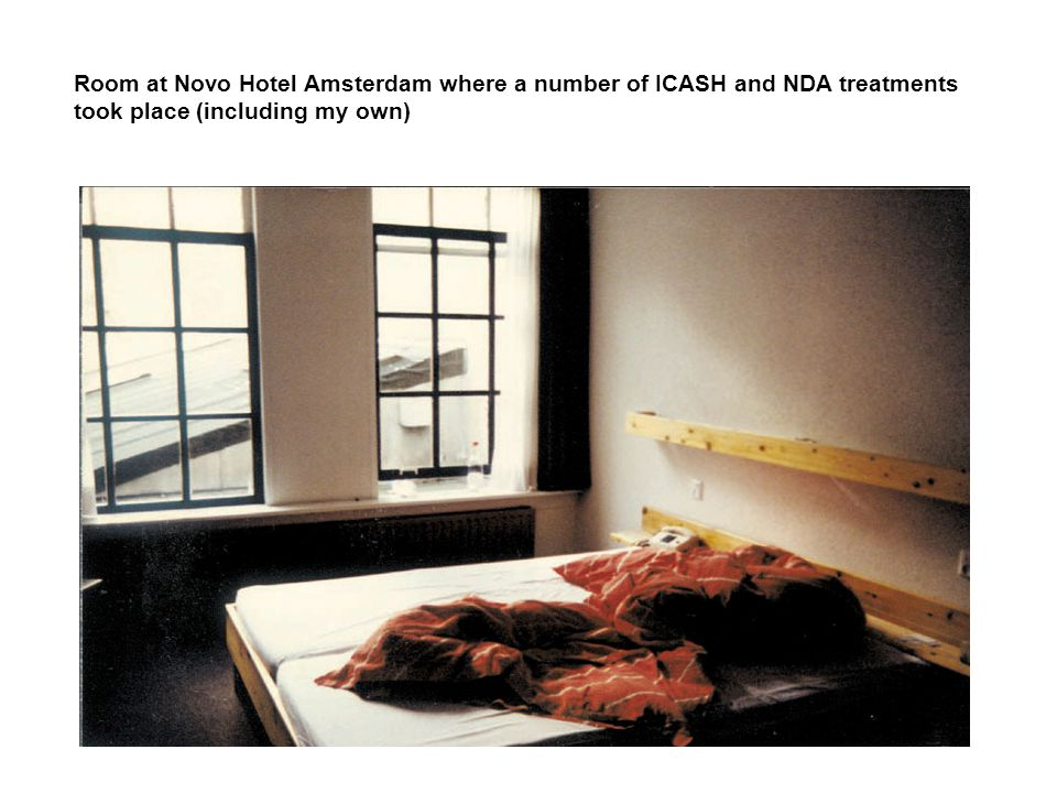 Room at Novo Hotel Amsterdam where a number of ICASH and NDA treatments took place (including my own)