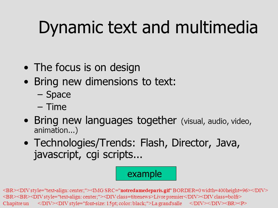 Dynamic text and multimedia The focus is on design Bring new dimensions to text: –Space –Time Bring new languages together (visual, audio, video, animation...) Technologies/Trends: Flash, Director, Java, javascript, cgi scripts...