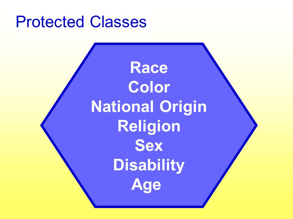 Race Color National Origin Religion Sex Disability Age Protected Classes
