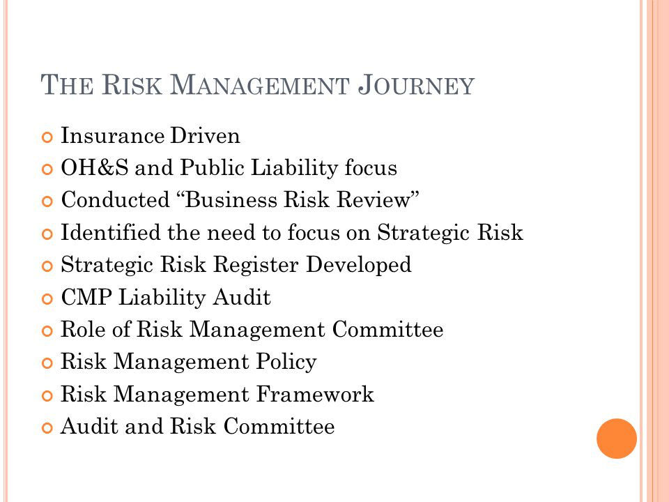 T HE R ISK M ANAGEMENT J OURNEY Insurance Driven OH&S and Public Liability focus Conducted Business Risk Review Identified the need to focus on Strategic Risk Strategic Risk Register Developed CMP Liability Audit Role of Risk Management Committee Risk Management Policy Risk Management Framework Audit and Risk Committee