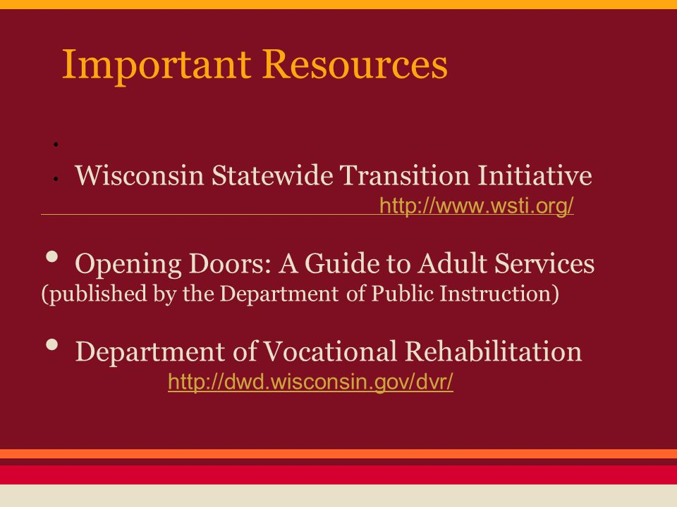 Important Resources Wisconsin Statewide Transition Initiative http://www.wsti.org/ Opening Doors: A Guide to Adult Services (published by the Department of Public Instruction) Department of Vocational Rehabilitation http://dwd.wisconsin.gov/dvr/