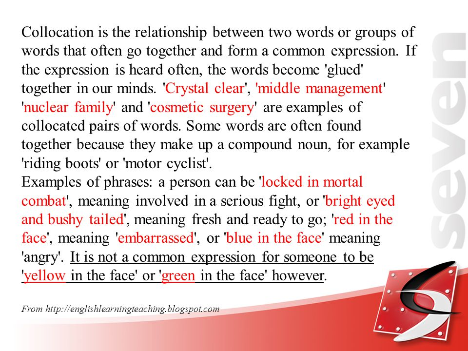 Types of Collocation 1.adverb + adjective 2. adjective + noun 3.