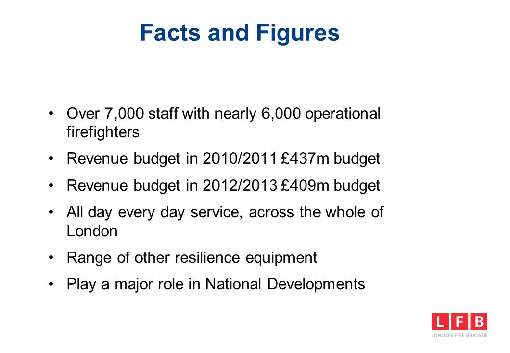 Facts and Figures Over 7,000 staff with nearly 6,000 operational firefighters Revenue budget in 2010/2011 £437m budget Revenue budget in 2012/2013 £40