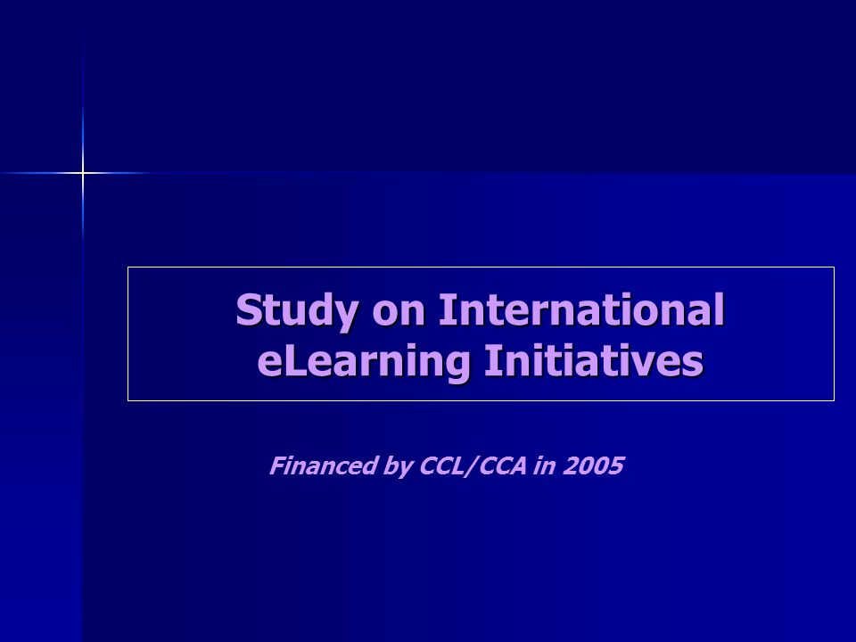 Study on International eLearning Initiatives Financed by CCL/CCA in 2005