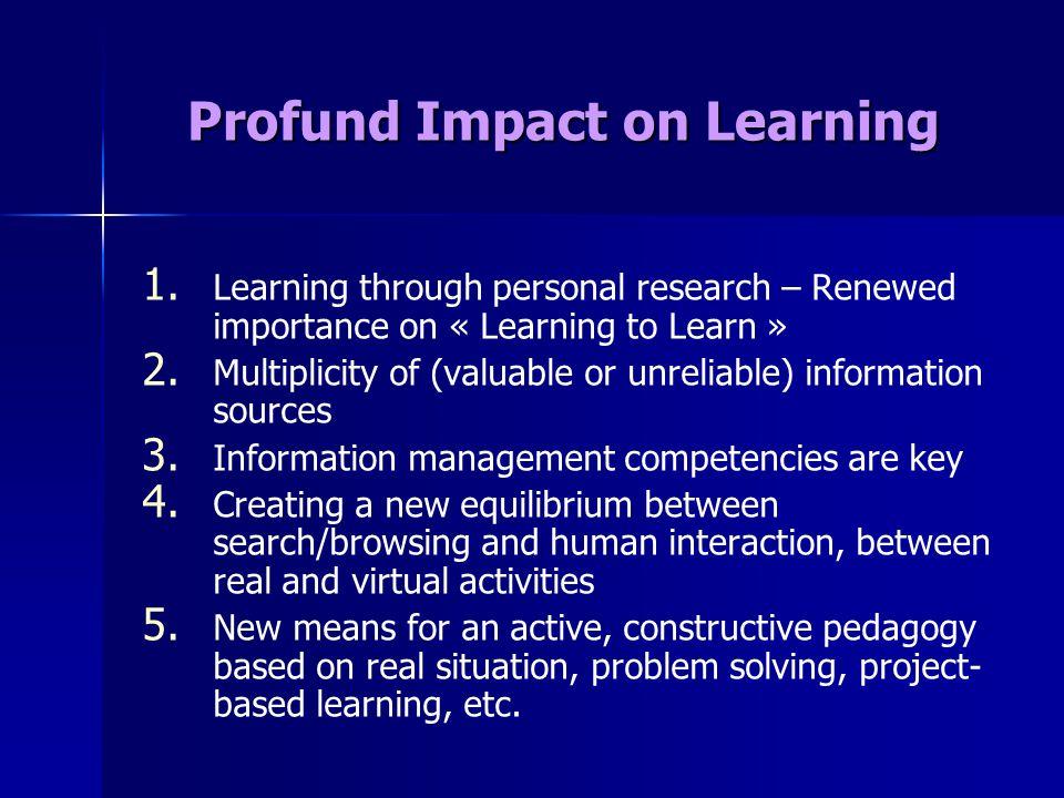 Profund Impact on Learning 1. 1.
