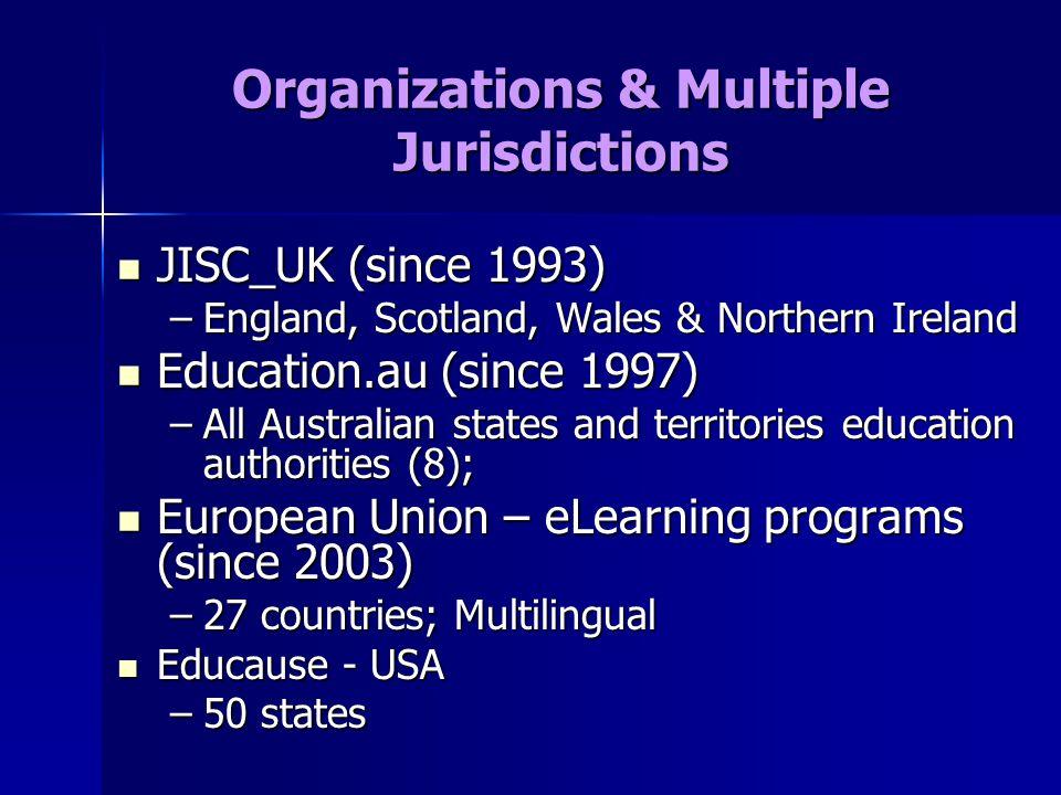 Organizations & Multiple Jurisdictions JISC_UK (since 1993) JISC_UK (since 1993) –England, Scotland, Wales & Northern Ireland Education.au (since 1997) Education.au (since 1997) –All Australian states and territories education authorities (8); European Union – eLearning programs (since 2003) European Union – eLearning programs (since 2003) –27 countries; Multilingual Educause - USA Educause - USA –50 states