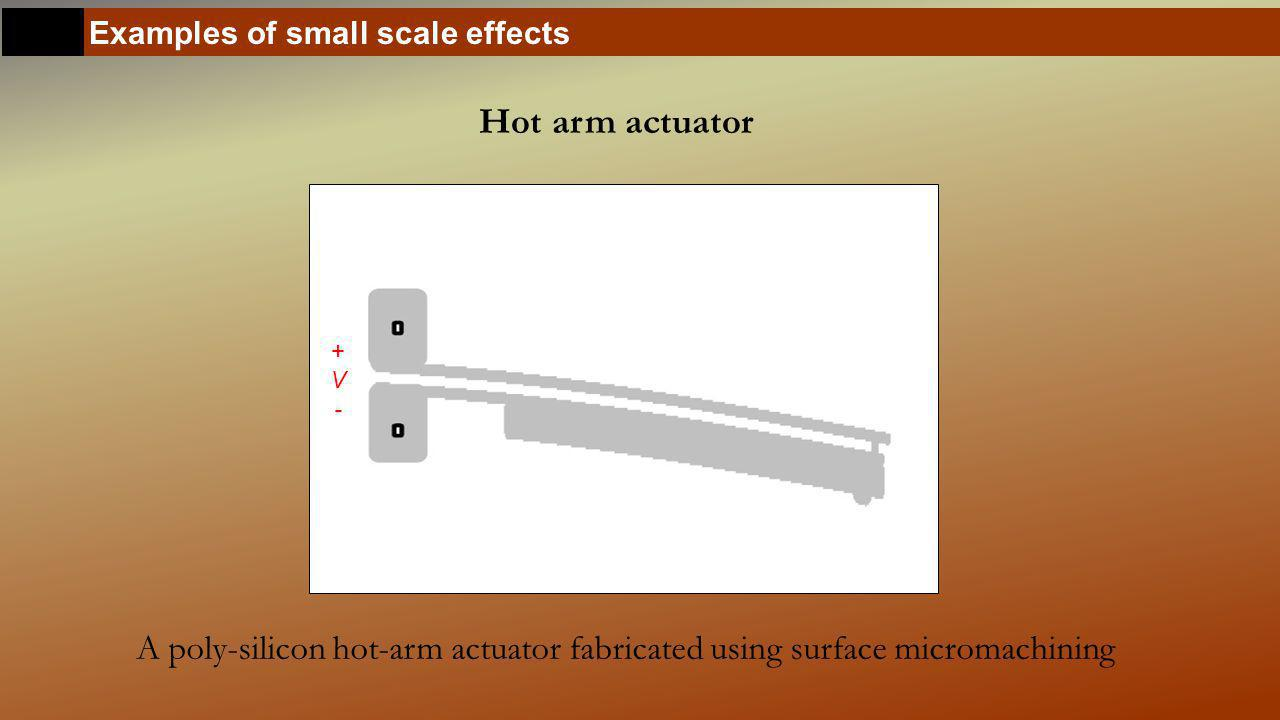 Examples of small scale effects Hot arm actuator A poly-silicon hot-arm actuator fabricated using surface micromachining I +V-+V-