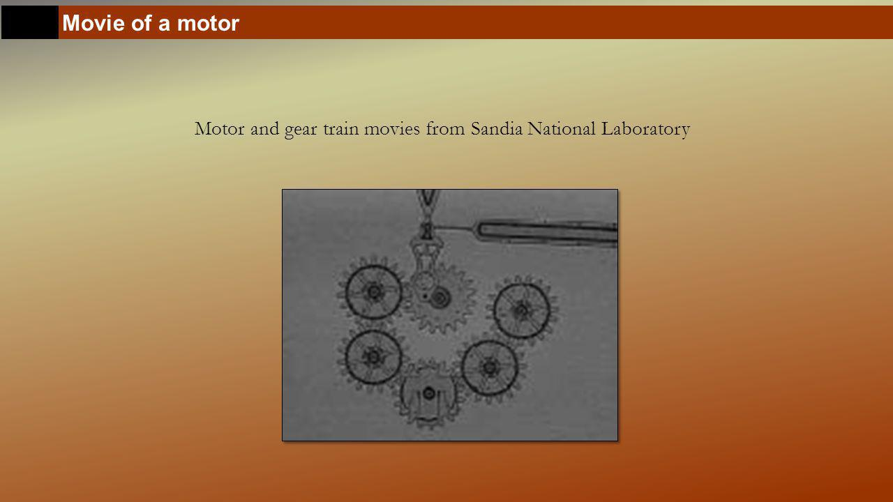 Movie of a motor Motor and gear train movies from Sandia National Laboratory