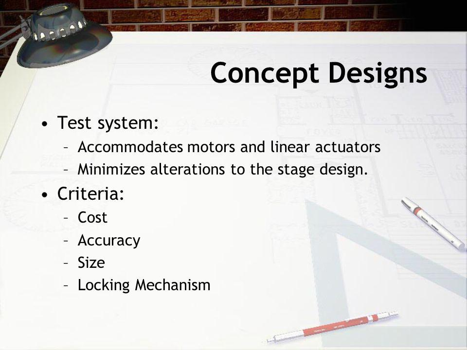 Concept Designs Test system: –Accommodates motors and linear actuators –Minimizes alterations to the stage design.