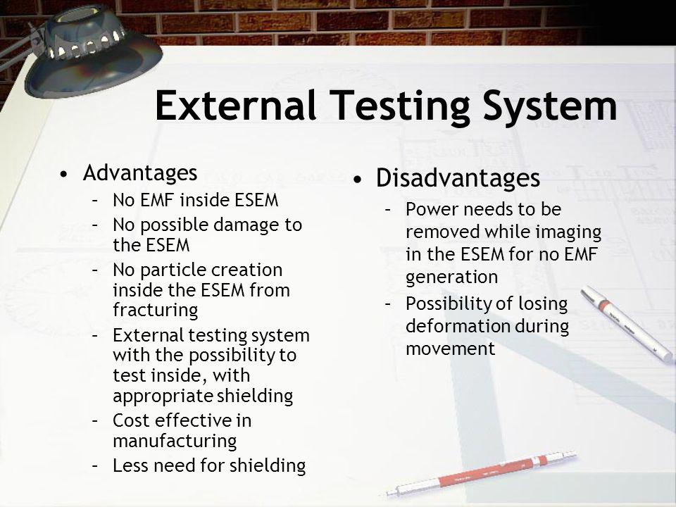 External Testing System Advantages –No EMF inside ESEM –No possible damage to the ESEM –No particle creation inside the ESEM from fracturing –External testing system with the possibility to test inside, with appropriate shielding –Cost effective in manufacturing –Less need for shielding Disadvantages –Power needs to be removed while imaging in the ESEM for no EMF generation –Possibility of losing deformation during movement