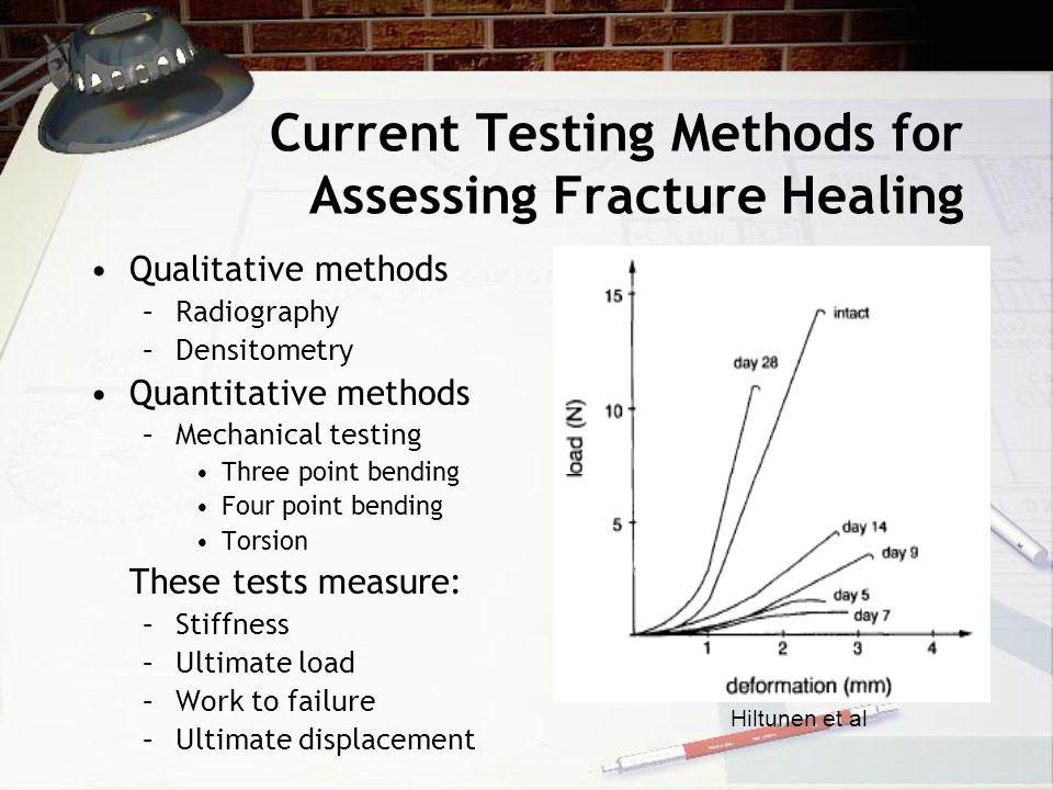 Current Testing Methods for Assessing Fracture Healing Qualitative methods –Radiography –Densitometry Quantitative methods –Mechanical testing Three point bending Four point bending Torsion These tests measure: –Stiffness –Ultimate load –Work to failure –Ultimate displacement Hiltunen et al