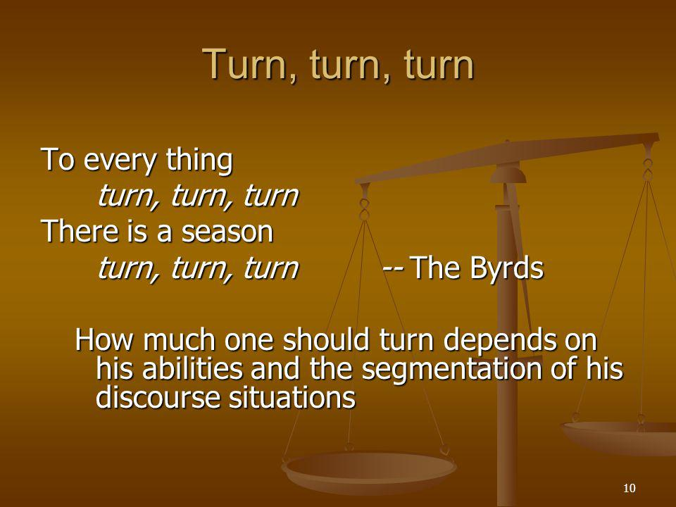 10 Turn, turn, turn To every thing turn, turn, turn There is a season turn, turn, turn-- The Byrds How much one should turn depends on his abilities and the segmentation of his discourse situations